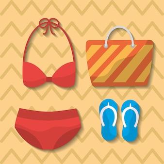 Zomer badpak bikini tas flip flops tas