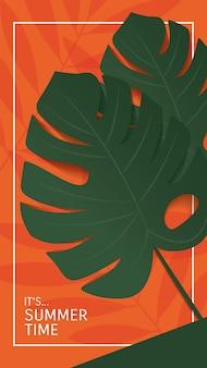 Zomer banner ontwerp monstera verlaat op geeloranje en groene muur achtergrond