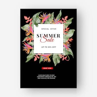 Zomer banner tropische achtergrond met strelitzia bloemen en tropische bladeren
