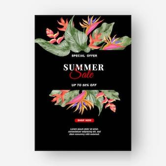 Zomer banner tropische achtergrond met strelitzia bloemen en tropische bladeren Gratis Vector