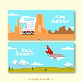 Zomer banners met caravan en vliegtuig