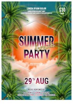 Zomer beach party flyer-sjabloon ontwerp met palmbomen. vector poster