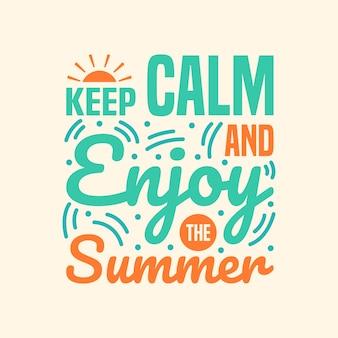 Zomer belettering citaten typografie ontwerp handgeschreven vakantie van zomer citaat