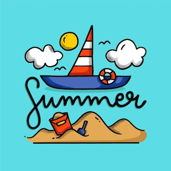 Zomer belettering met geïllustreerde boot en zand