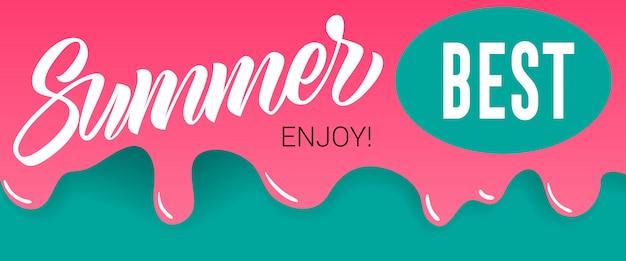 Zomer, beste, geniet van letters op druipende verf. zomeraanbieding of verkoopreclame