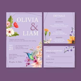 Zomer bloem conceptontwerp voor bruiloft kaart sjabloon aquarel