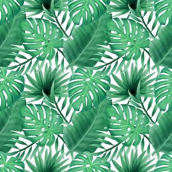 Zomer bloemen aquarel verlaat naadloze patroon behang