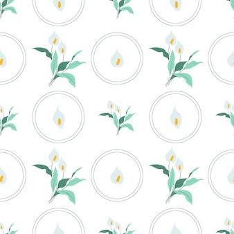 Zomer bloemen en bladeren patroon naadloos abstracte calla lelies bloemen bloemblaadjes met bladeren