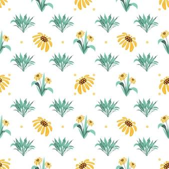 Zomer bloemen en bladeren patroon naadloos abstracte gele bloesem bloemen en kruiden herhalen