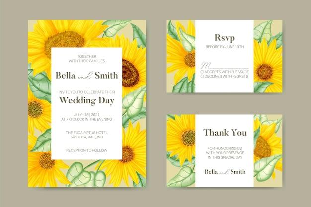 Zomer bruiloft uitnodigingskaart set met aquarel zonnebloem thema