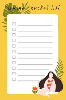 Zomer bucketlist met handgetekende illustratie van schattige meisjesbladeren en zomerelementen