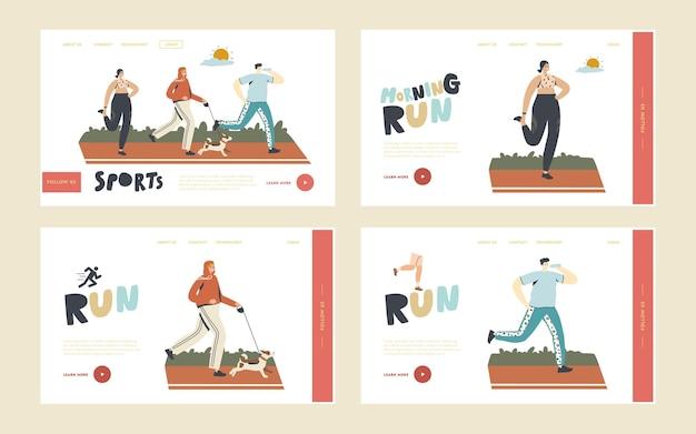 Zomer buitensport activiteit, joggen gezonde levensstijl bestemmingspagina sjabloon set. personages lopen in de ochtend. mannen en vrouwen in sportkleding en sneakers joggen in het park. lineaire mensen vectorillustratie