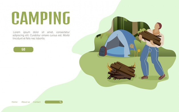 Zomer camping bestemmingspagina sjabloon