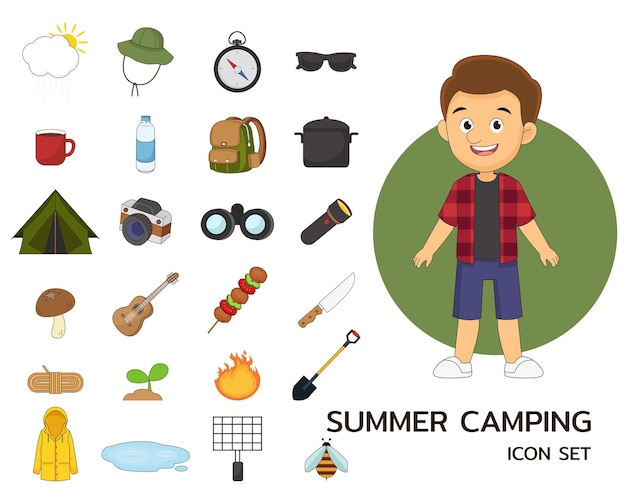 Zomer camping concept plat pictogrammen