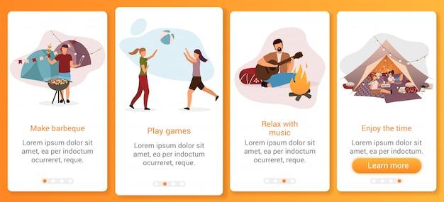 Zomer camping festival op instappen mobiele app schermsjabloon. zomerkamp activiteit.