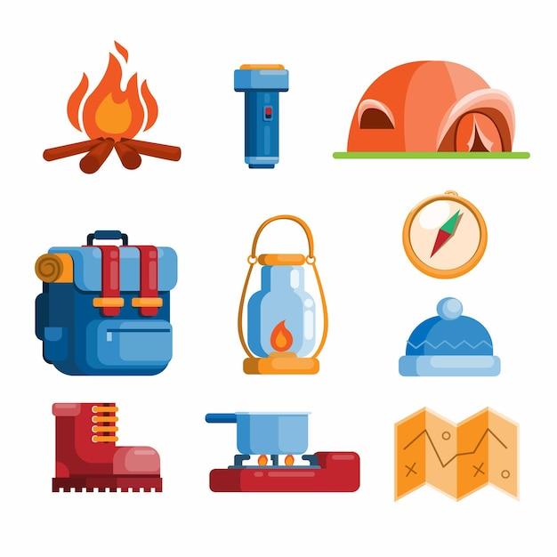 Zomer camping openluchtrecreatie symbool collectie set illustratie vector