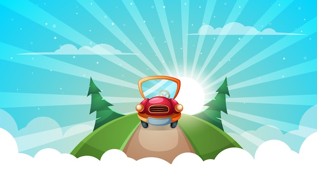 Zomer cartoon landschap. auto, weg illustratie.