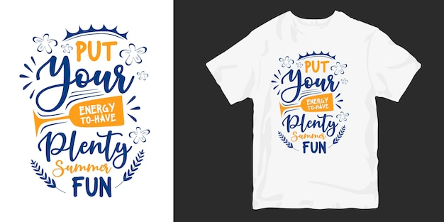 Zomer citaten typografie hand belettering t-shirt design