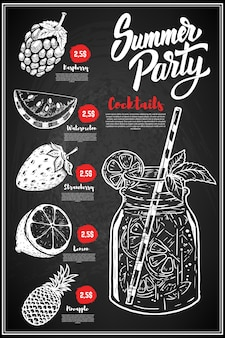 Zomer cocktails menu cover lay-out. menubord met handgetekende illustraties van framboos, citroen, watermeloen, aardbei, ananas.