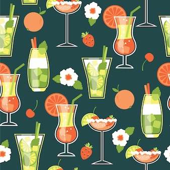 Zomer cocktails. naadloos patroon.