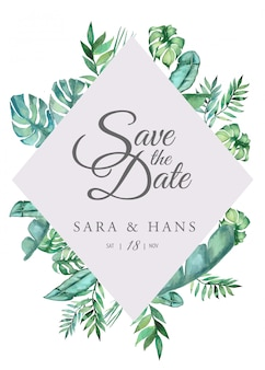 Zomer creatief ontwerpsjabloon. uitnodigingskaarten voor bruiloft.