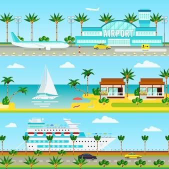Zomer cruise vakantie banners