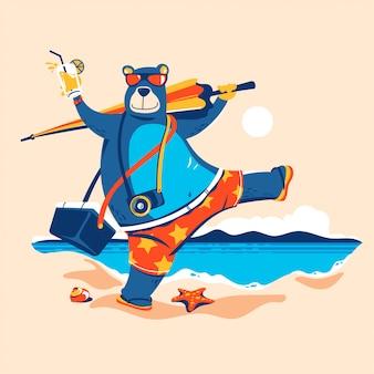 Zomer dier. beer met paraplu en ijskist gaan zonnen op het strand