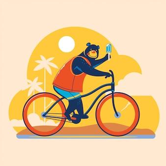 Zomer dierlijke illustratie. beren fietsen verkennen op het strand