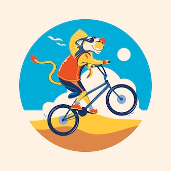 Zomer dierlijke illustratie. leeuwen fietsen verkennen op het strand