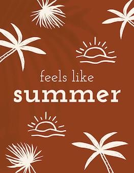 Zomer doodle sjabloon vector voelt als zomer quote social media banner
