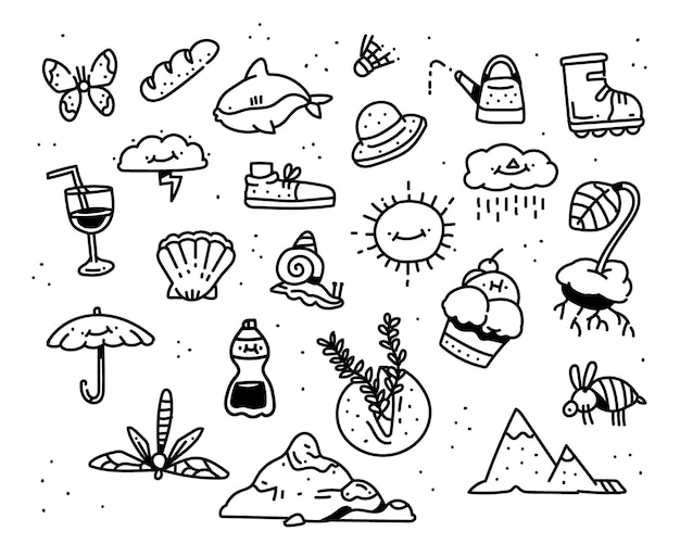 Zomer doodle stijl. verbeelding tekenstijl