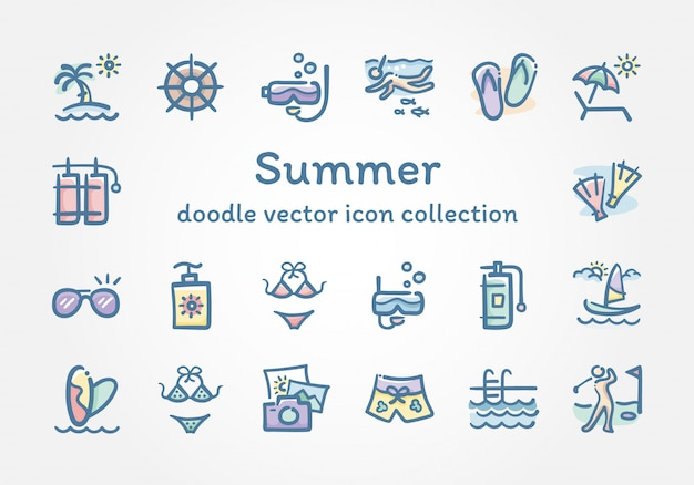 Zomer doodle vector icoon collectie