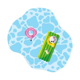 Zomer drijft pad en eend zwevend in het zwembad