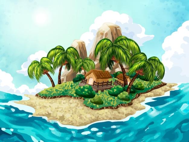 Zomer eiland achtergrond, aantrekkelijk tropisch eiland in het midden van de zee, met de hand getekende stijl