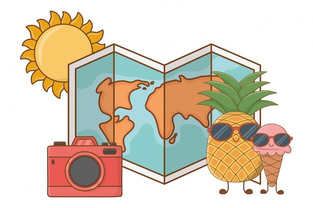 Zomer en fruit grappige tekenfilms