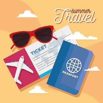 Zomer- en reisticketglazen en paspoortontwerp, reistoerisme en reisthema