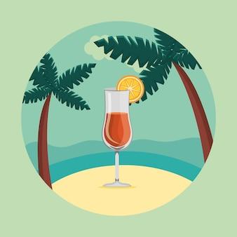 Zomer en reizen, cocktail in het paradijs in een cirkel