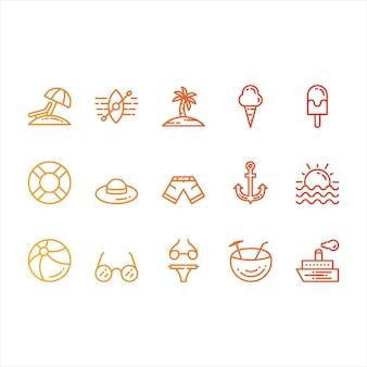 Zomer- en strand iconen
