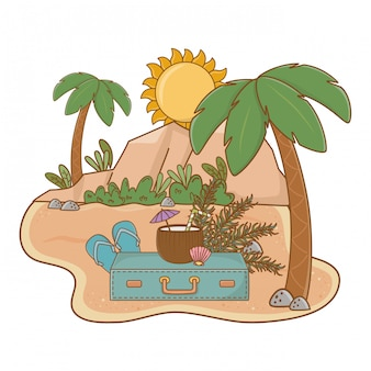 Zomer en strand leuke tekenfilms