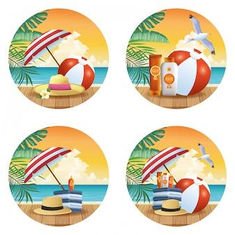 Zomer en strandproducten cartoons set van ronde iconen