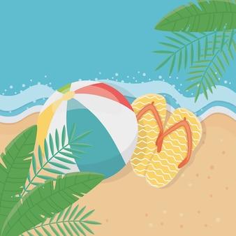 Zomer en vakantie illustratie met strand elementen ontwerp