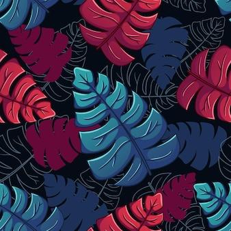 Zomer exotische bloemen tropische bladeren achtergrond abstracte kleurrijke bladeren naadloze patroon