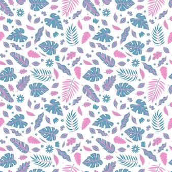 Zomer exotische bloemen tropische palm, bananenbladeren in blauwe en roze stijl.