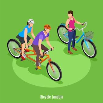 Zomer familie vakantie isometrisch met vader en dochter rijden op fiets achter elkaar vectorillustratie