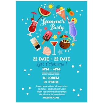 Zomer feest poster of flyer sjabloon blauwe vlakke stijl cocktail drinken