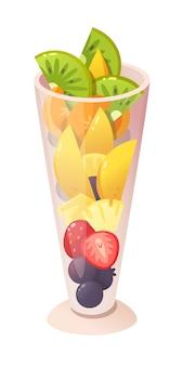 Zomer fruit desserts. fruit stukjes. geïsoleerde illustratie.