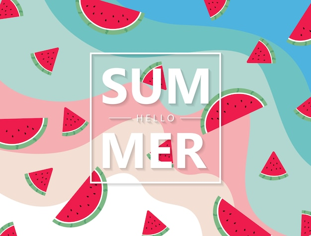 Zomer fruit watermelon background prachtig geordende illustratie