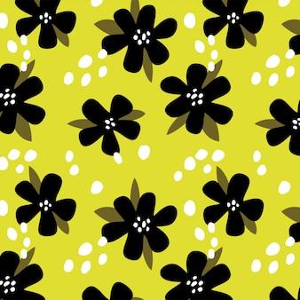 Zomer gele achtergrond met zwarte bloemen