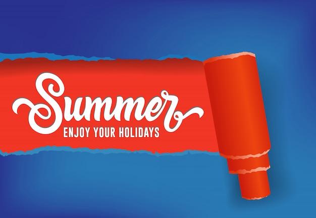 Zomer, geniet van uw vakantie seizoensgebonden banner in rode en blauwe kleuren
