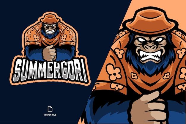 Zomer gorilla mascotte logo illustratie